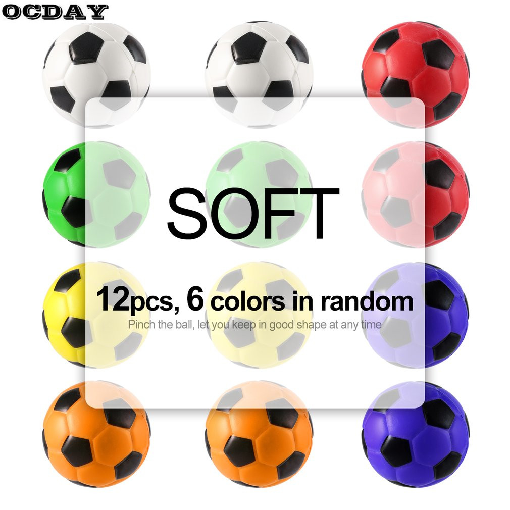 12PCS/lot Football Stress Relief Sponge Foam Balls Hand Strength Squeeze Stress Ball Children Adult Hand Exercise Toy Balls Toys