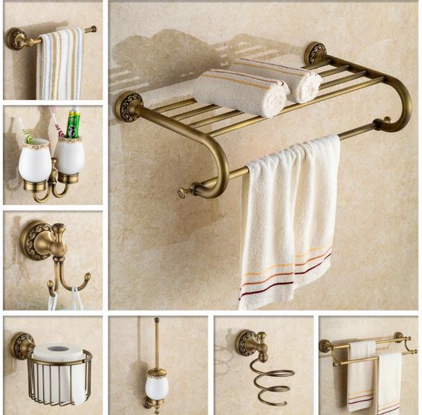 €17.8 28% de réduction|Accessoires de salle de bains en cuivre de luxe  antique porte serviettes en verre étagère porte brosse de toilette porte  papier ...
