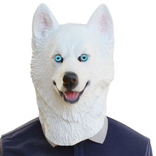 Хэллоуин Сибирский хаски собака латекс маска Новый костюм вечернее изящное платье маски животных Прекрасный животных самоедская Собака Глава маска
