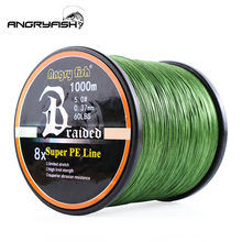 ANGRYFISH ligne de pêche tressée 8 couleurs, 1000 mètres, 8x, vente en gros