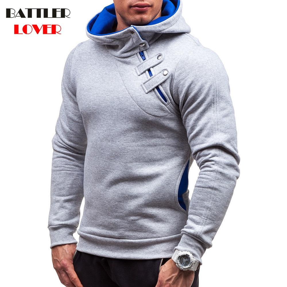 Rrive Mens Oblique Zipper Pockets Classic Print Hoodie Pullover Sweatshirt