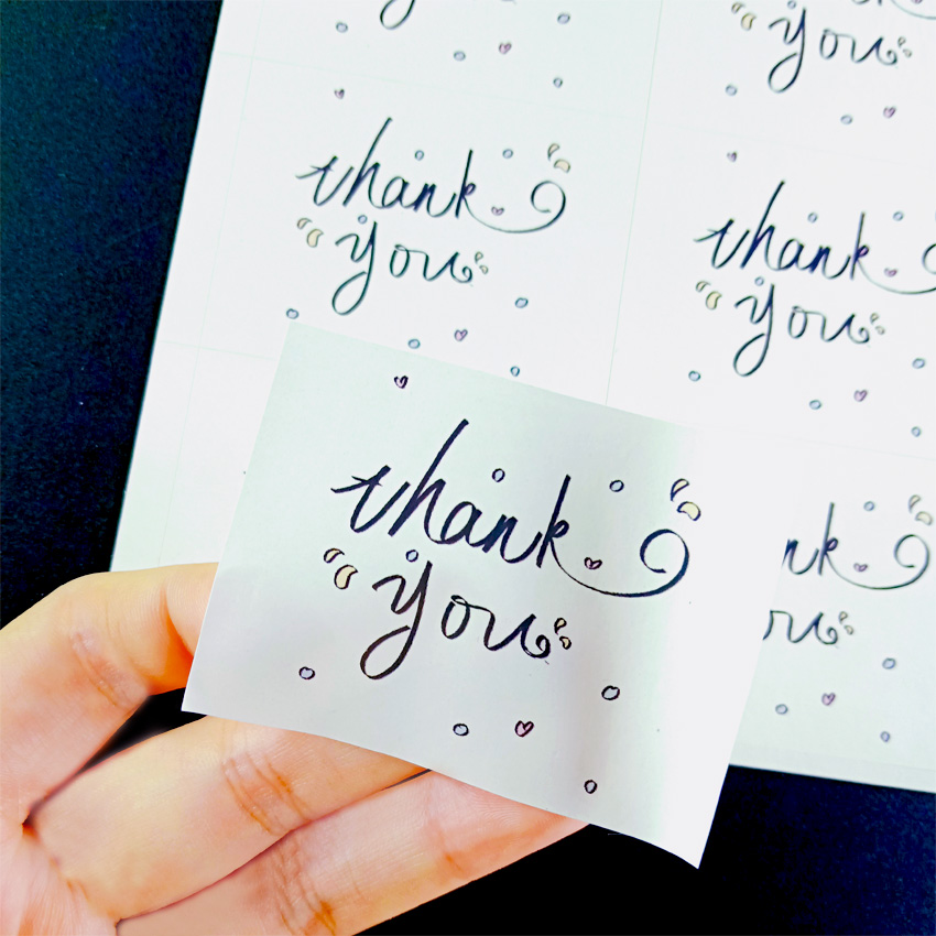 60 Pcs/lot Thank You White Label Sticker Rectangular DIY Hand Made For Gift Sealing Sticker