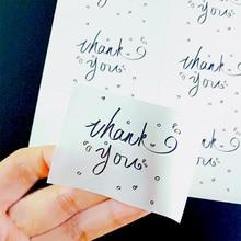60 Pcs/lot Thank you White Label Sticker Rectangular DIY Hand Made For Gift Sealing