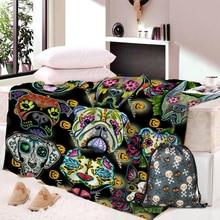 Dropship Skull Dog Throw Blanket Mandala Boho Bohemian Sherpa Fleece Pink and Blue for Beds