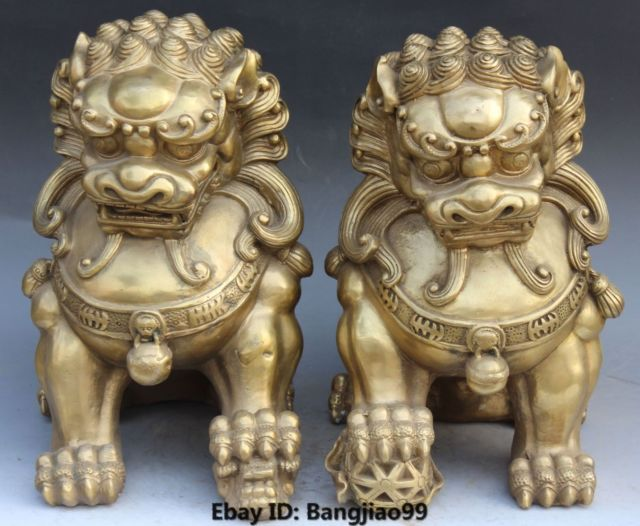 Stick 14 Chinese Bronze Foo Fu Dog Guardion Door Gate Lion Leo Kid Ball Statue Pair cigarette lighter cooking tools