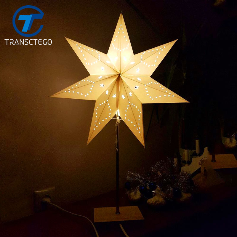 Led Desk Lamp Table Light Paper Paper Star Wood Wood Lamp Nordic Design of Modern Retro Minimalist Bedside Living Room Table Lamps