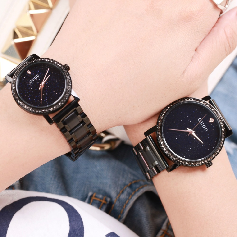 Women Rhinestone Watches Luxury Brand GUOU Lady Dress Women Watch Diamond Crystal Quartz Stainless Steel Clock Reloj Mujer famous brand full diamond luxury women watch lady dress watch rhinestone bling crystal bangle watches female reloj mujer
