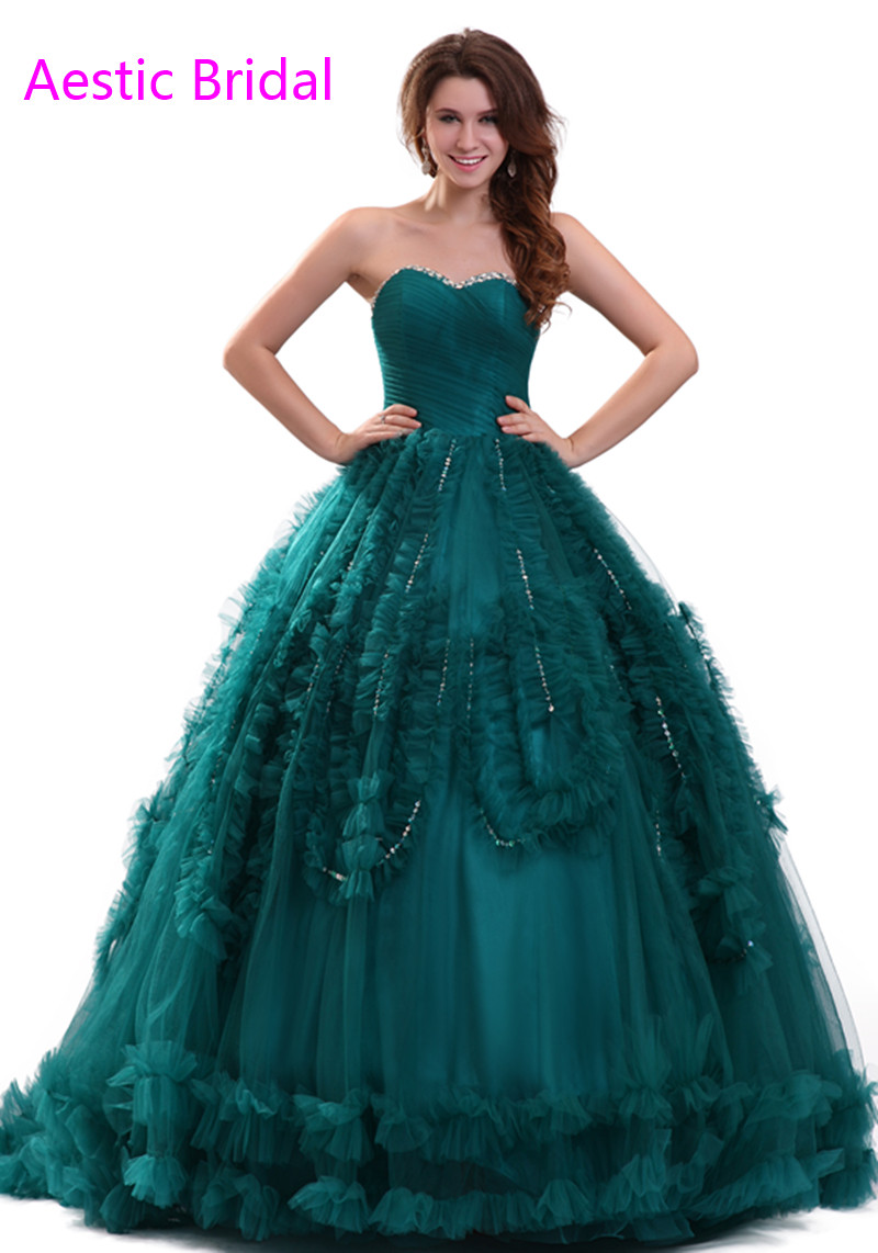 Sweet 16 Dresses Turquoise Blue Sweetheart Strapless Ball Gown ...