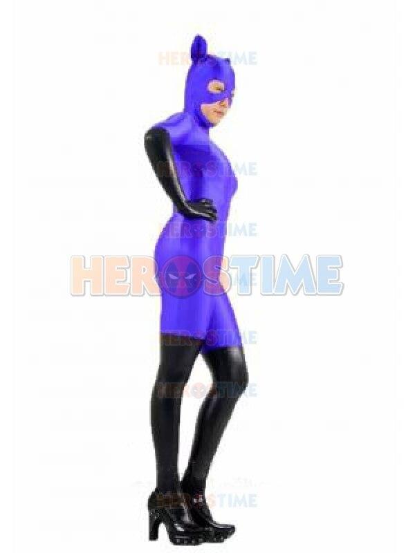 Purple & Black Spandex Catwoman Superhero Costume Fullbody Lycra Lady Superhero Costume Halloween Party Zentai Suit