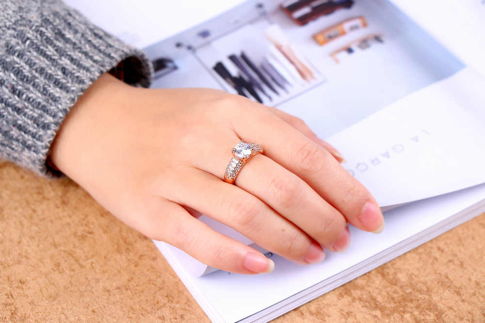 DAN'S ELEMENT Micropave, anillo de boda para mujer, 4 garras de lujo, Zirconia cúbica AAA + 1,5 quilates, regalo, joyería de moda DER105