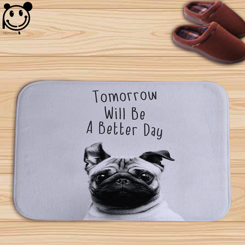 PEIYUAN Doormat Indoor Print Color Animal Cute Pug Dog White Schnauzer Letter Door Mat F ...