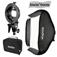 Godox Studio Photo Flash Softbox Light Kit 60 x 60cm / 24 * 24 + S Type Bracket Bowens Mount Speedlite Soft Box 60x60 cm Set