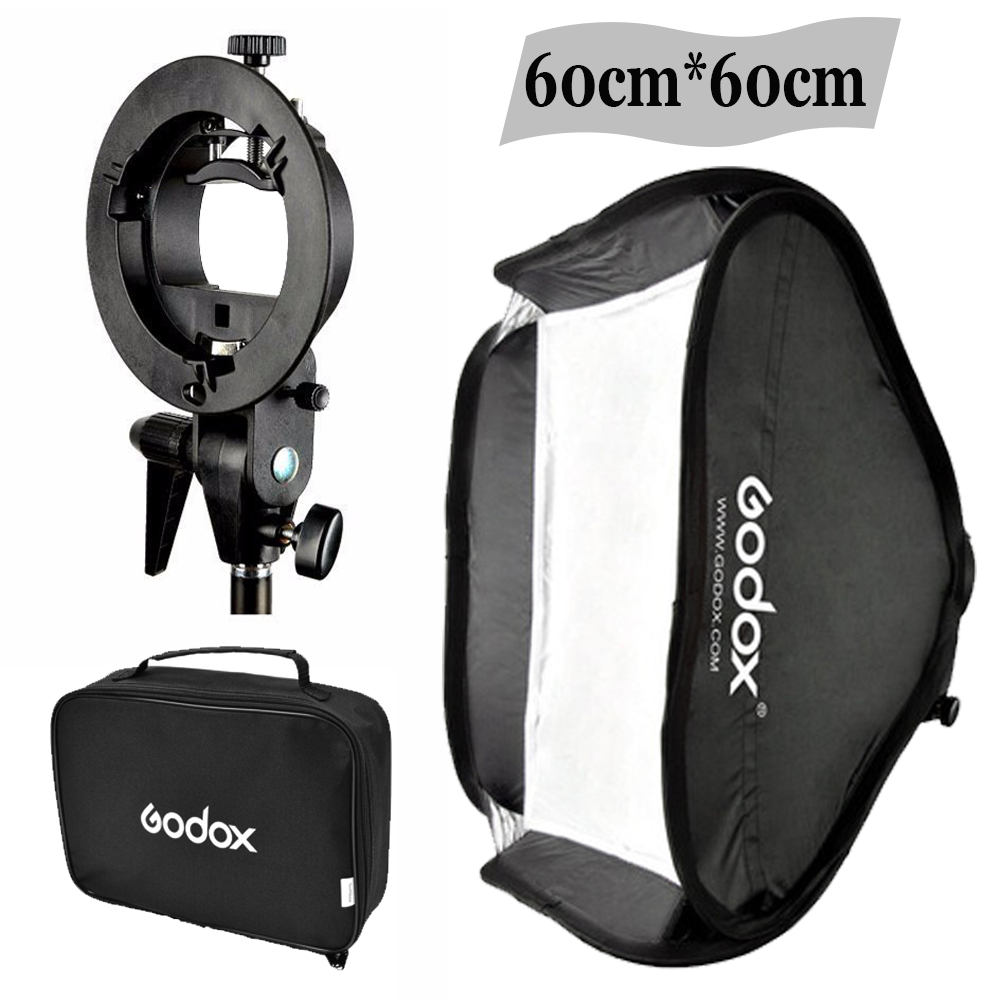 "Godox Studio Photo Flash Softbox Light Kit 60 x 60cm / 24 ""* 24"" + S-typ Fäste Bowens Mount Speedlite Soft Box 60x60 cm Set"