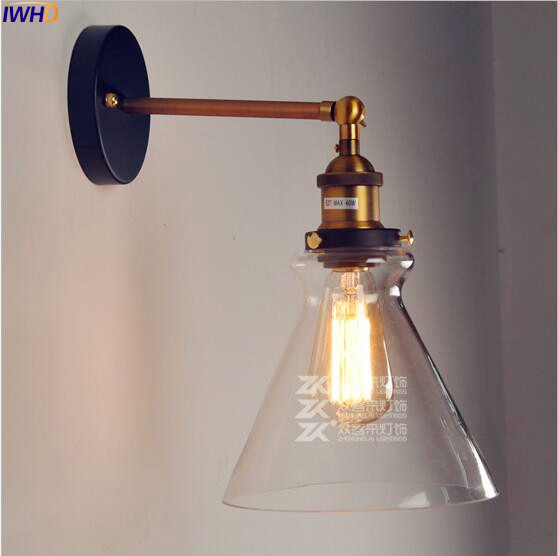 IWHD Glass Retro Vintage Wall Lamp Bedroom Dinning Room Loft Style Industrial Wall Lights Sconce Lampara Pared LED Stair Light new vintage industrial wall lamps stair dinning room loft black iron wall light home decor sconce e27 led bulb gift 110 240v