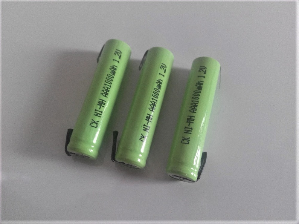 3PCS 1.2V AAA rechargeable battery 1000mah 3A 10440 NiMH NiMH battery with pins for Braun electric shaver razor toothbrush image