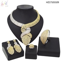 YULAILI Trendy Cubic Zirconia AD Jewelry Sets Unique Shaped Necklace&Bangles&Earrings&Ring Accessories for Nigerian Wedding