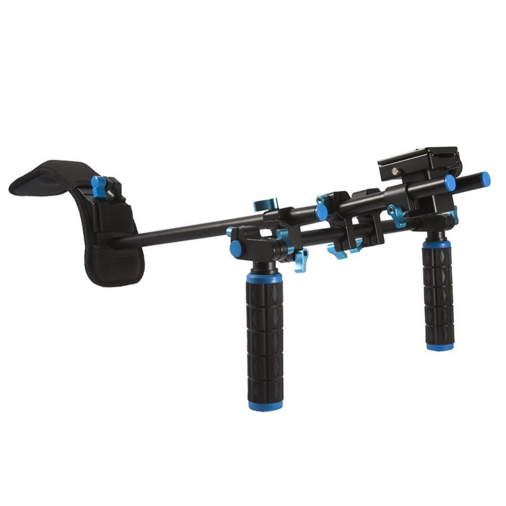 DSLR Shoulder Mount Support Rig, Double-hand Handgrip and C-shaped Holder Set For All Video Cameras and DV Camcorders ylg0102h dslr shoulder mount support rig double hand handgrip holder set for all video cameras and dv camcorders