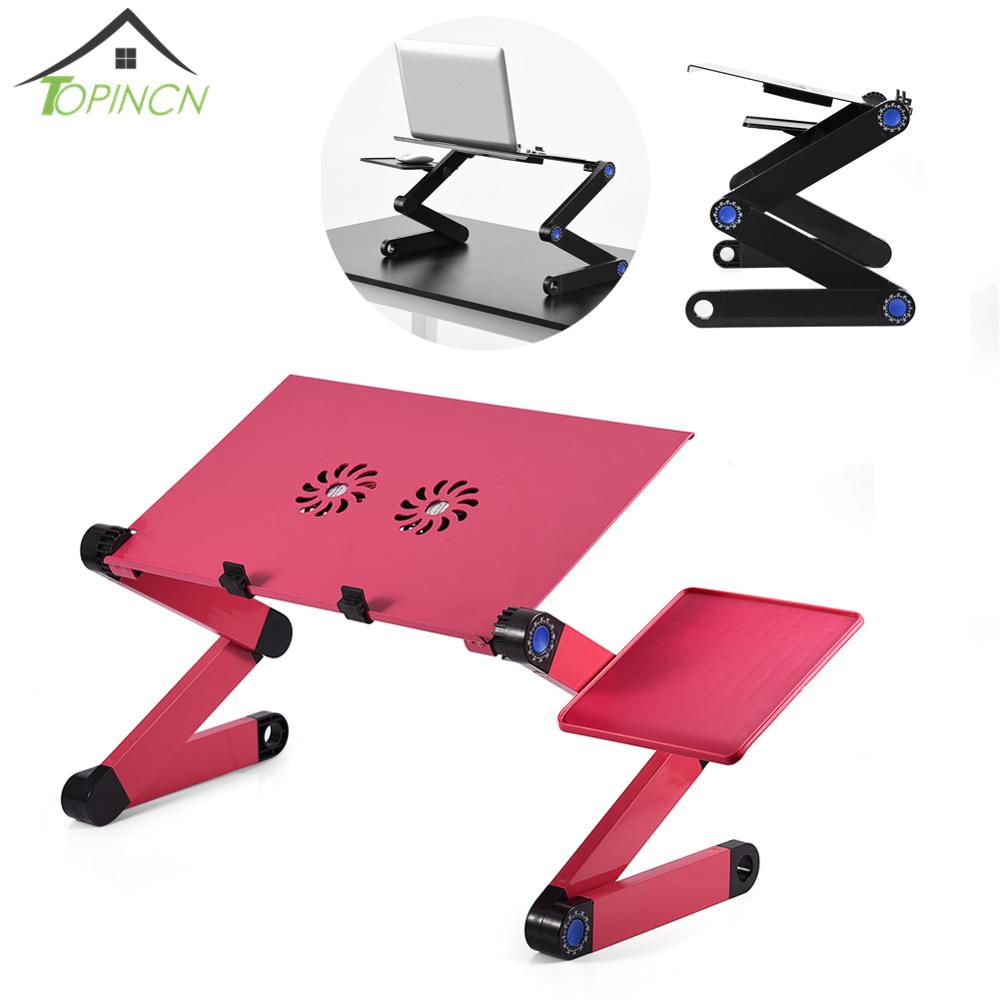 360 Degree Adjustable Foldable Laptop Desk Table Stand Holder Durable Aluminum Lapdesk Tray with Cooling Dual Fan Mouse Pad(China)