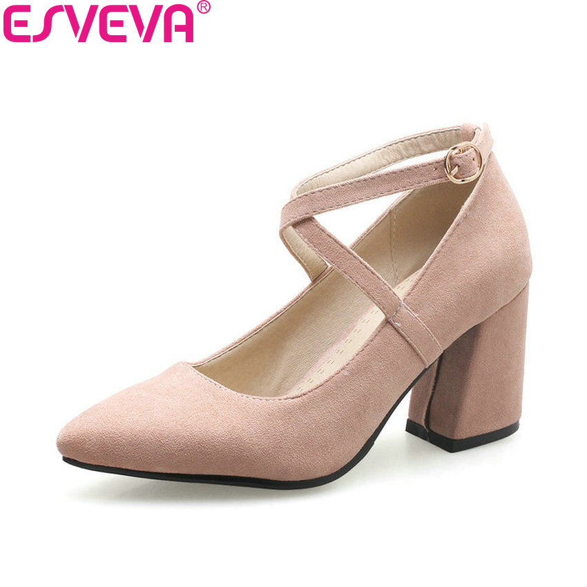 ESVEVA 2018 Women Pumps Buckle Cross-tied Pointed Toe Out Door Square High Heels Elegant Pumps Flock Ladies Shoes Size 34-39 comfy women pointed toe square high heels office shoes woman flock ladies pumps plus size 34 40 black grey high quality