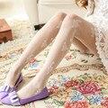 A Fibra De bambu Doce bonito rosas rendas assentamento Meias jacquard do vintage meias brancas