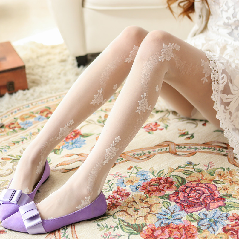 Bamboo Fiber Sweet beautiful vintage roses lace bottoming Stockings jacquard white tights