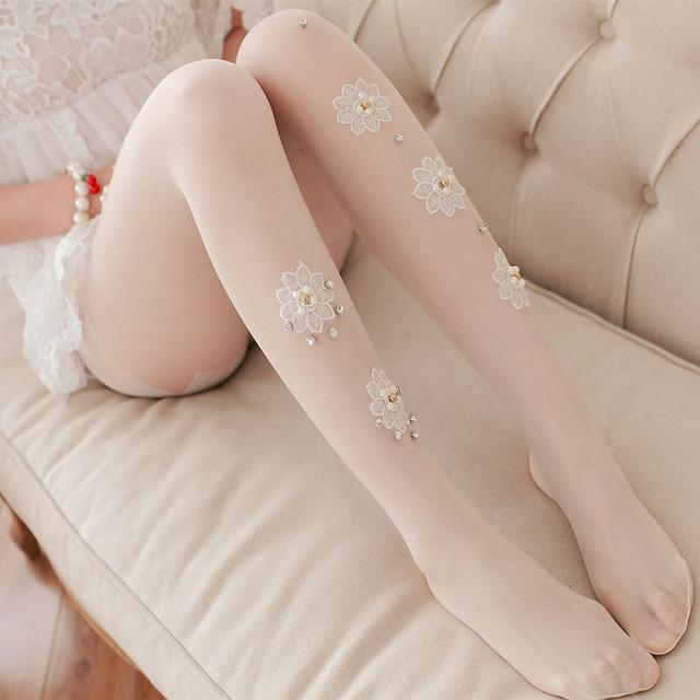 Pérola bordado de renda branca meia-calça Fina selvagem flores Forma das mulheres calças justas meias menina