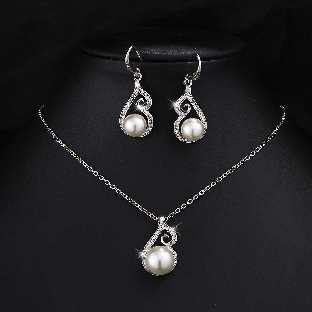 17KM Women Wedding Fashion Simulated Pearl Jewelry Set Necklace Earring Chain Bridal African Beads Crystal Accessories