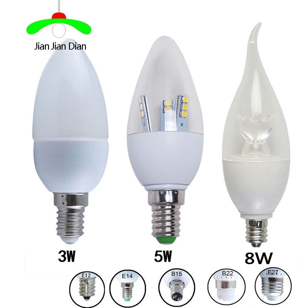 6PCS/lot LED Bulb E14 E12 B15 E27 B22 SMD2835 110V-220V LED Candle Light 3W 5W 8W LED Chandelier White Warm White LED Lamp 3w e14 home candle bulb led light lamp ac 85 265v 6pcs