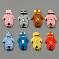 Cartoon Baby Rompers Spring Winter Newborn Clothing Hooded Cotton Long Sleeve Jumpsuits Colorful Boys Girls
