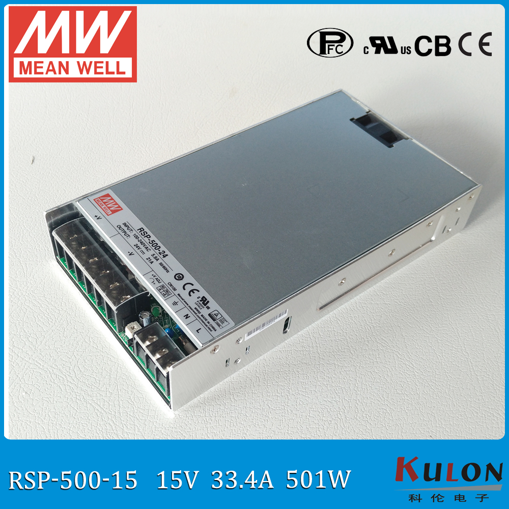 Original MEAN WELL RSP-500-15 15V Power Supply 500W 30A 15V meanwell ac-dc switching power supply 15V with PFC (PF>0.95) meanwell 12v 350w ul certificated nes series switching power supply 85 264v ac to 12v dc