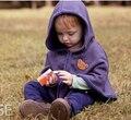 2015 moda oso abrigos bebé niños de la muchacha Smocks Outwear Fleece Jumpers manto ropa de los niños del cabo del Poncho