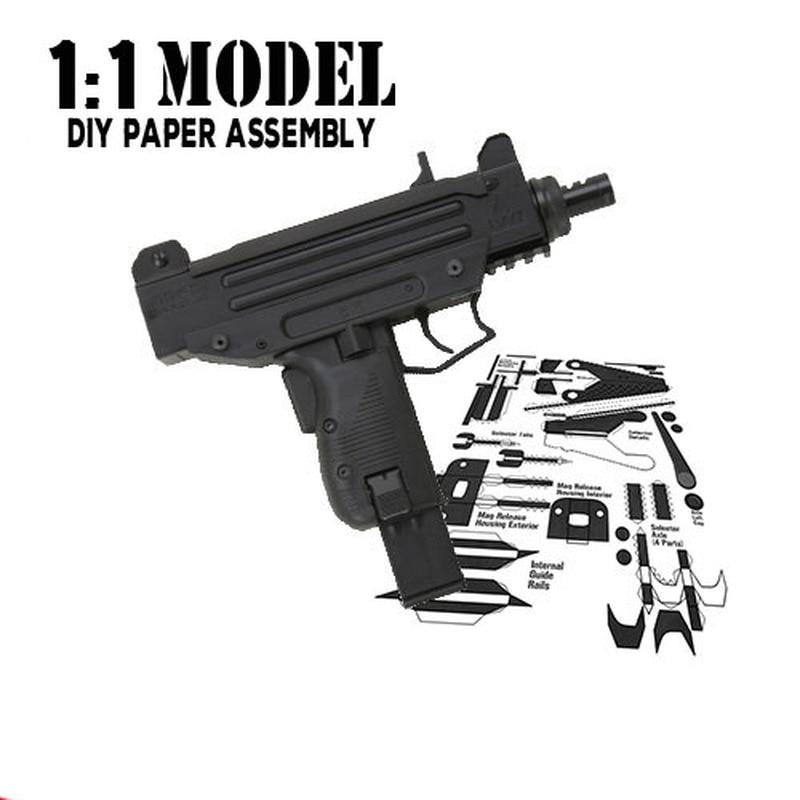 1:1 UZI Toy Gun Model Paper Assembled Educational Toy Building Construction Toys Card Model Building Sets