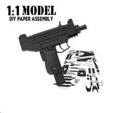 1:1 Brinquedo UZI Arma Modelo de Papel de Construção de Construção de Brinquedos Educativos Montados Brinquedos Conjuntos de Construção Do Modelo De Cartão