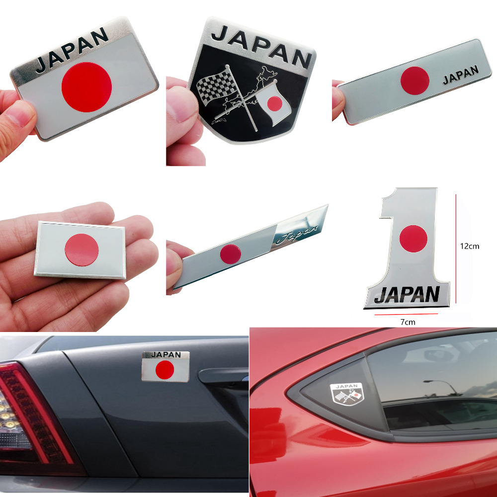 Metal Japanese Flag Emblem Badge JAPAN Car Sticker Decals Accessories For Toyoto Honda Nissan Mazda Lexus Mitsubishi Car Styling