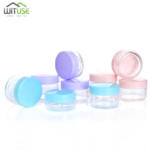 лучшая цена New 10Pieces Plastic Pot Jars Empty Cosmetic Container 7 Colors Make-ups Pot jars With Lid For Creams Sample Make-up Storage 20g