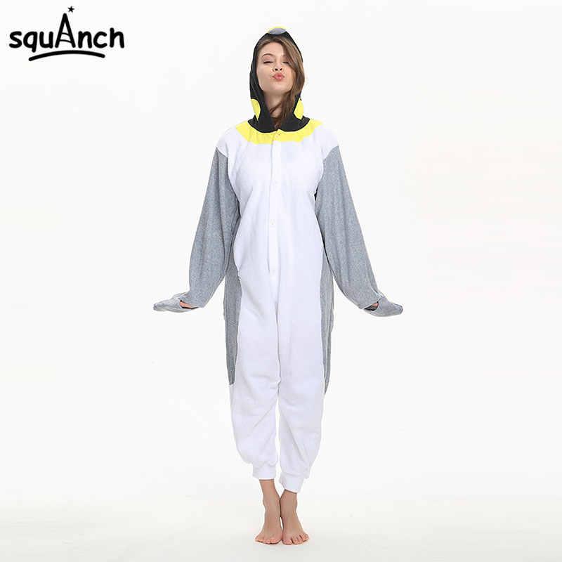 Penguin Kigurumi Onesie Good Quality Polar Fleece Pajama Women Men Adult  Halloween Fancy Cartoon Animal Street a6380cffd