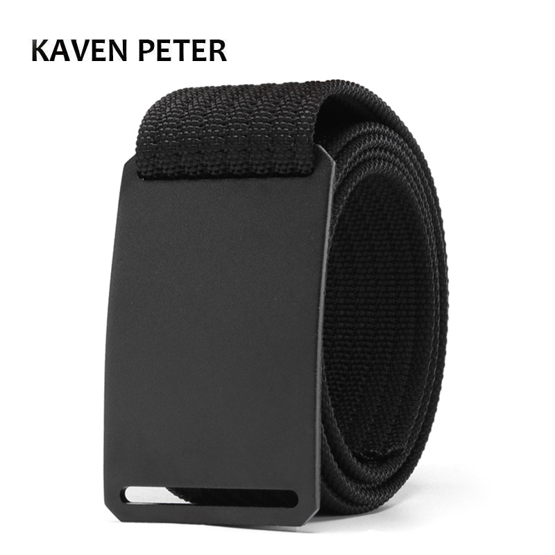 Fashion Men Long Belt Black Aluminum Buckle Knitted Belt Canvas Tactical Belt 1.5 Inch Cinturon Hombre 100 To 160 CM Belt Length