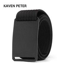 Fashion Men Long Belt Black Aluminum Buckle Knitted Canvas Tactical 1.5 Inch Cinturon Hombre 100 To 160 CM Length