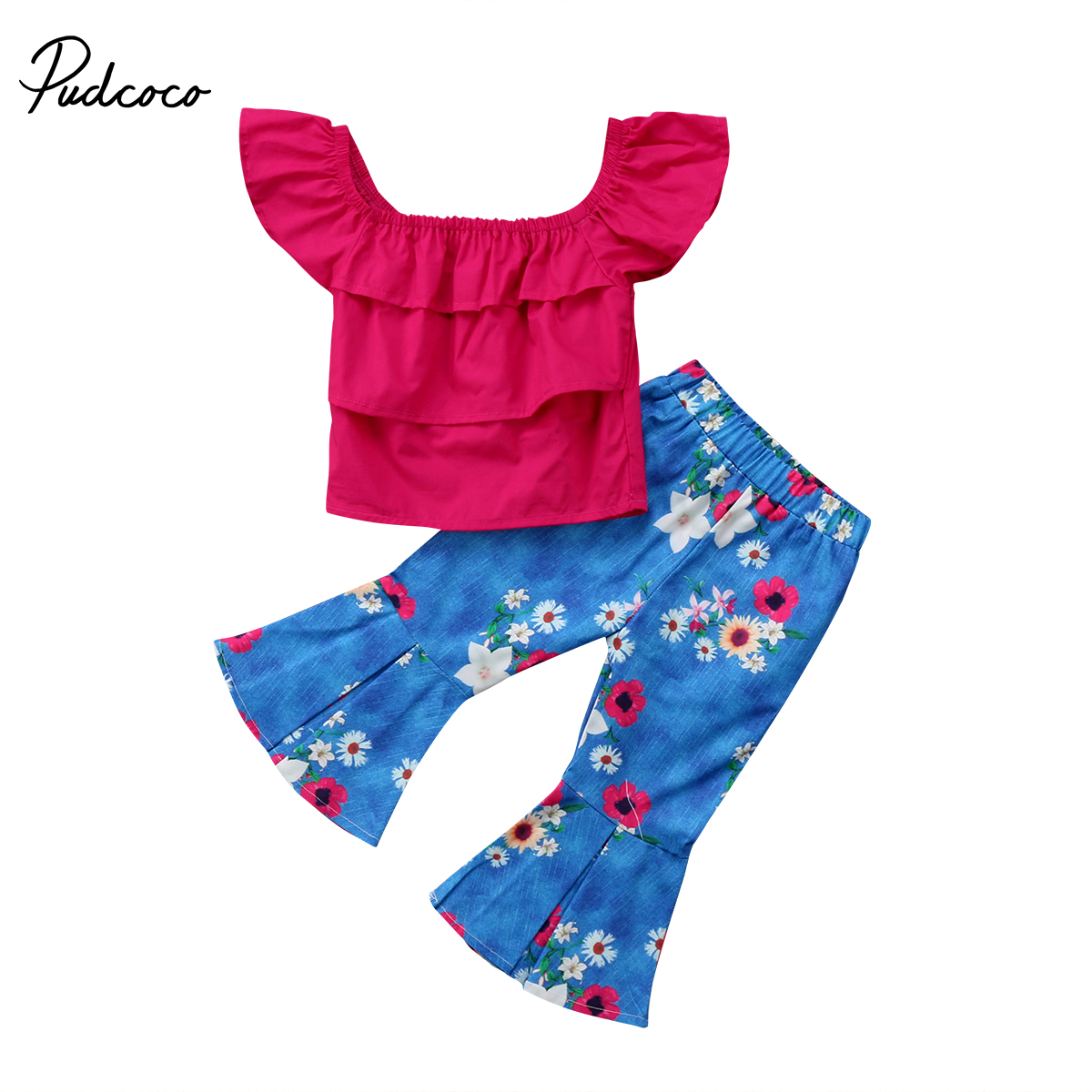 2018 Brand New 2Pcs Toddler Infant Baby Kid Girl Off Shoulder Top layered Tank Flare Pants Outfit Set Children Summer Clothing summer infant baby girl flower crop top shorties pants outfit sunsuit