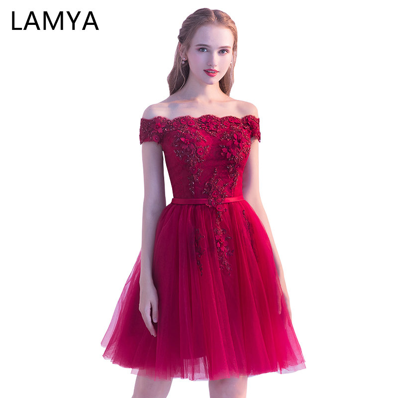 LAMYA Princess Short Elegant   Evening     Dress   Appliques Ball Gown Formal Party Gown Plus Size Boat Neck robe de soiree