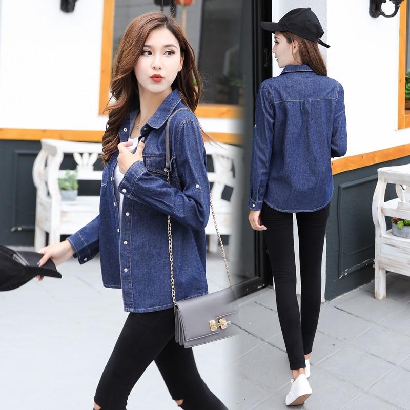 Women's Clothing 2018 Autumn Fashion Long Denim Shirt Women Plus Size Loose Pockets Blouses Long Sleeve Blusa Jeans Casual Cotton Woman Top Femme