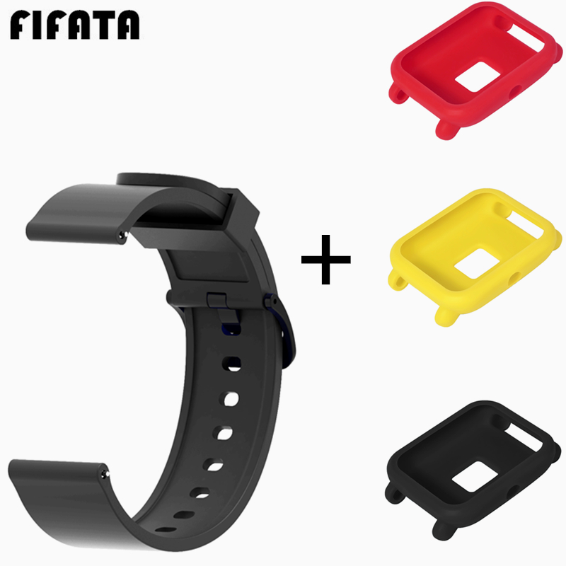 FIFATA For Xiaomi Huami Amazfit Bip 20MM Soft Silicone Watch Strap Protective Case Cover Shell Replacement Watch Band Wristband