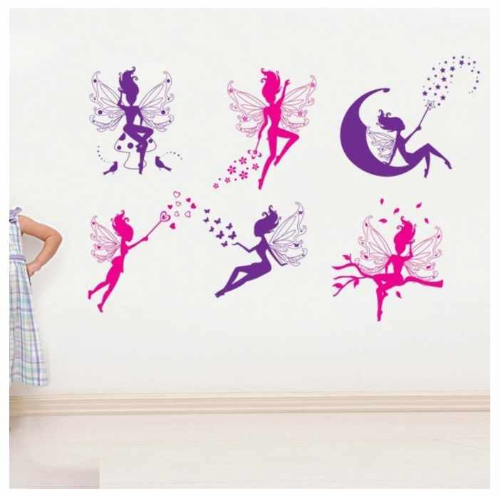 6pcs Pink Purple Fairy Silhouette Angel Wall Sticker Decal Purple Red Home Decal Mural Removable New Style Vinyl Art