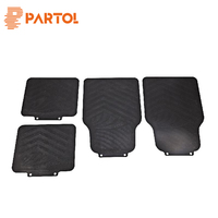 Partol 4pcs Set Black Car Floor Mats Universal Auto Front Rear Floor Liner Waterproof Dirtproof Dustproof