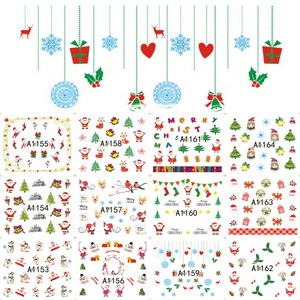 Image 4 - 12PCS Christmas Snowman Tree Boots Bells Deer Water Transfer Nail Art Sticker Decal Slider Manicure Wraps Tool Tips JIA1129 1176