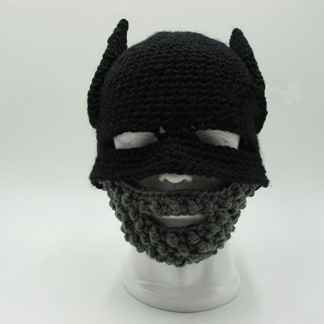 Beard Batman Cap Knight Hat Gorro Handmade Crochet Winter Warm Balaclava Funny Party Mask Beanie Women Men Cool Novelty Gift