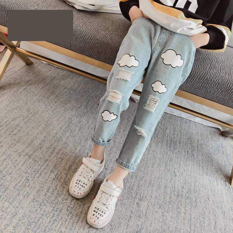 все цены на Ripped Jeans For Kids Girls Teenage Baby Girl 4 5 6 7 8 9 10 11 12 13 Years Long Denim Trousers Print Toddler Little Girls Pant