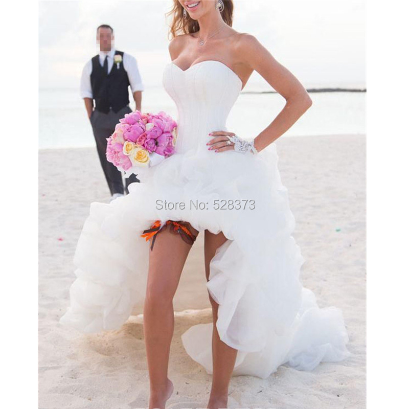 YNQNFS W3 Organza Sweetheart Corset Back Short Front Long Back High Low Wedding Dress Party Dress
