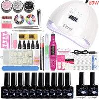 Manicure Set with Lamp for Nail Kit Nail Lamp Dryer 10pcs Gel Nail Polish Set Varnish Semi Permanent Manicure Tools Nail Art Kit