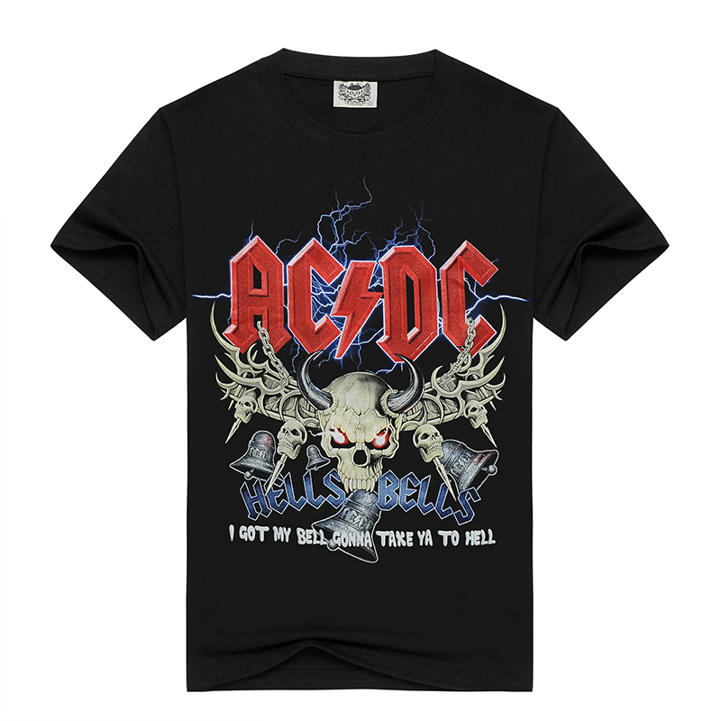 Novelty Design T Shirt Men 3d AC DC Bell Skull Chain Acdc I Got My Bell Gonna Take Ya To Hell Casual Brand Clothing Men T Shirt